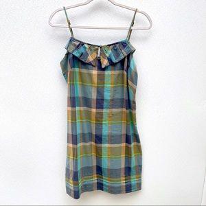 LOFT plaid cotton summer dress spaghetti strap 8P